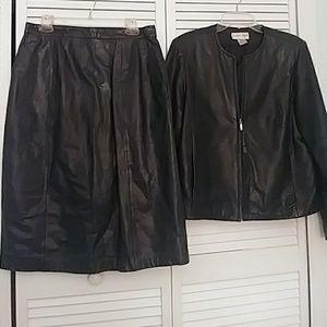 SPECIAL BOGO leather Jacket & leather pencil skirt